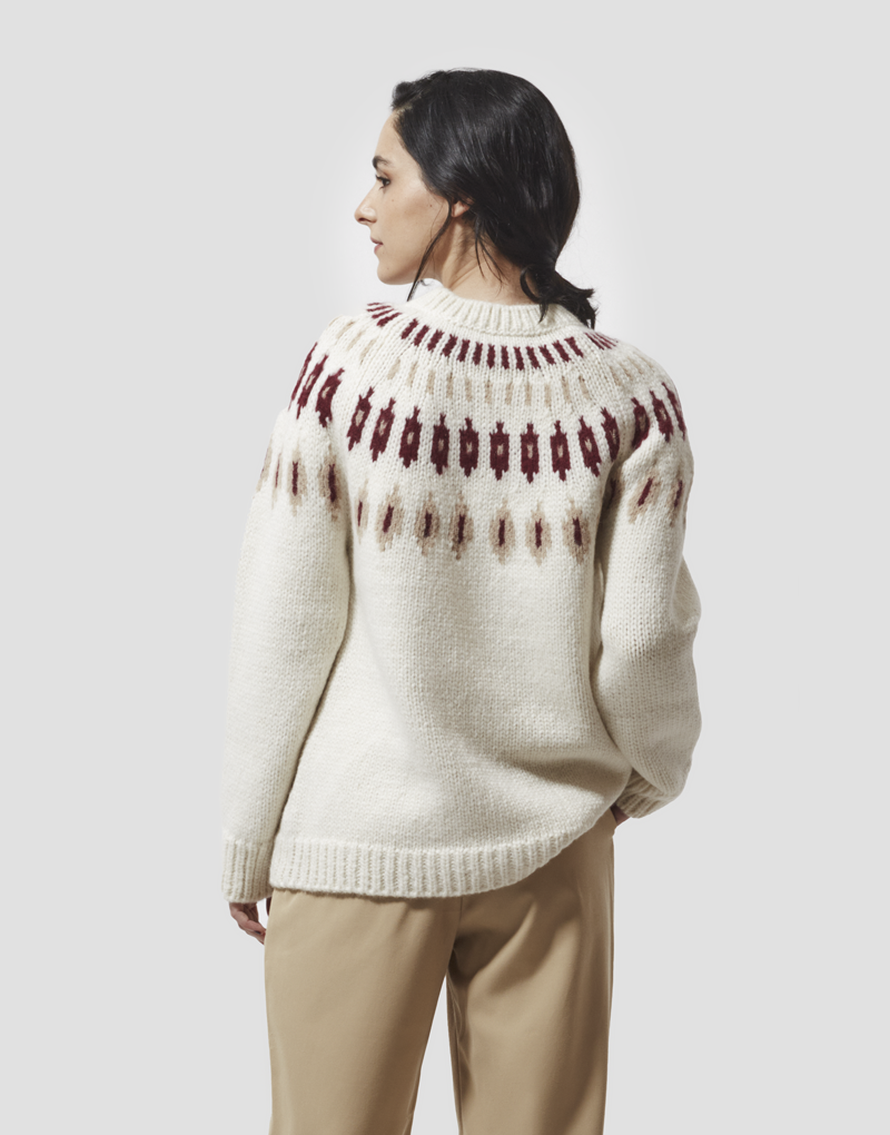 Saray Sweater in Ecru & Red