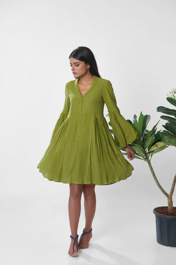 The Auli Dress in Olive Green