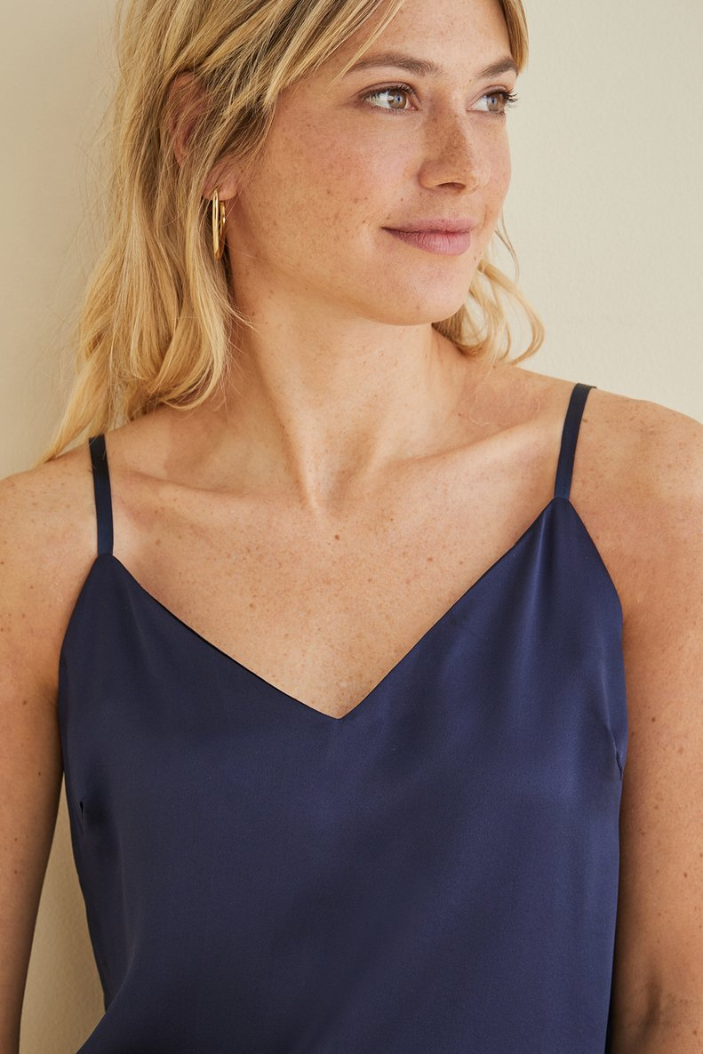 Anita Silk Tank in Navy