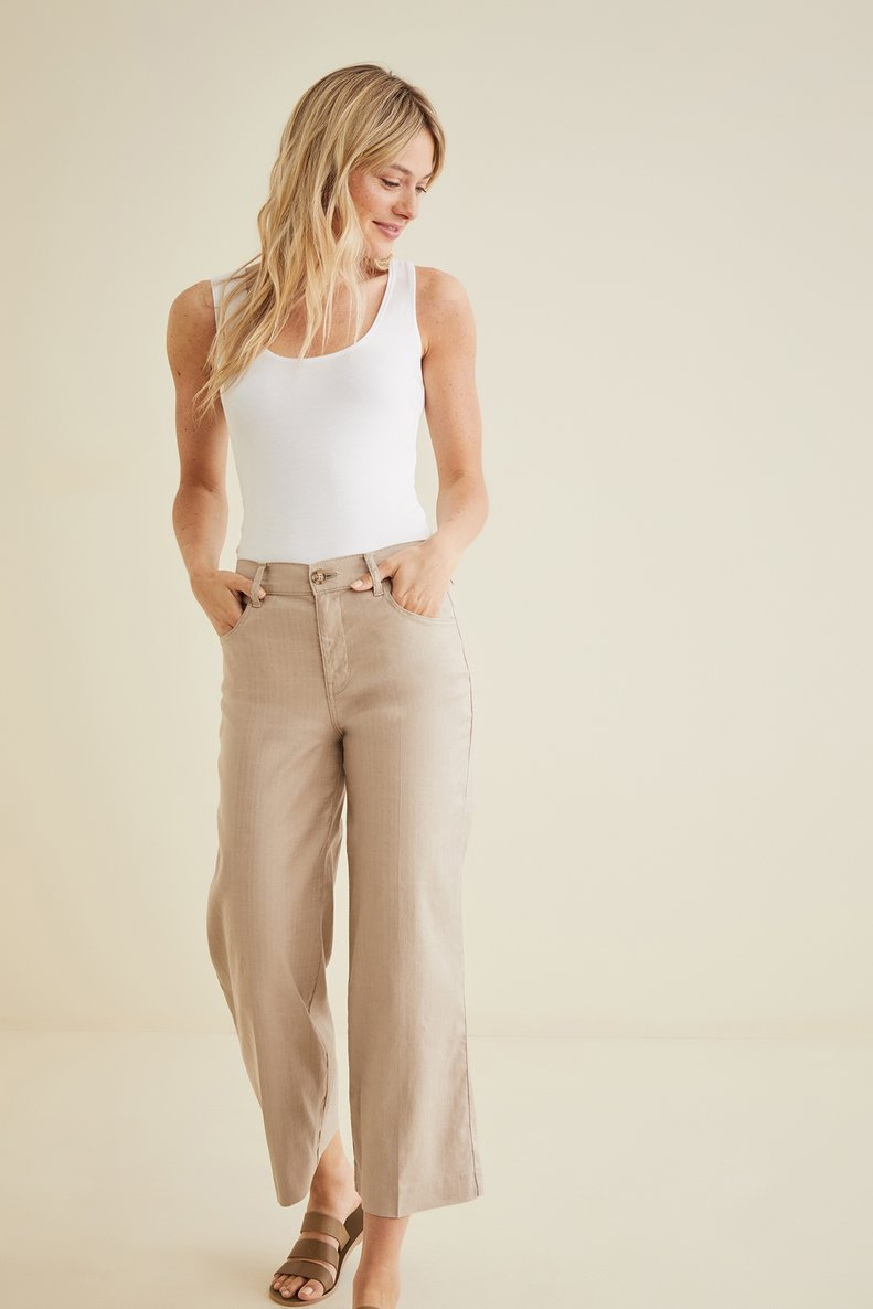 Annabelle Wide Leg Cropped Pant in Dover