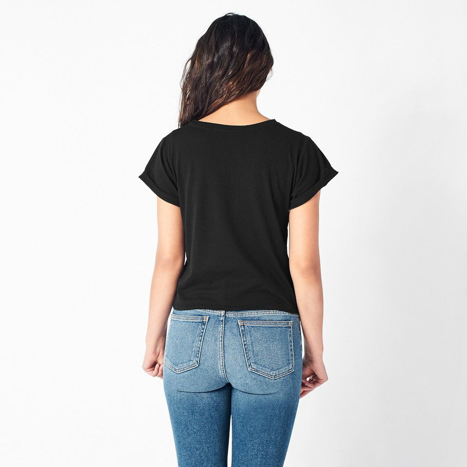 Rolled Cuff Tee in Black