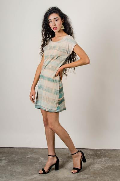 Basic T-Shirt Dress in Palm with Teal Stripes