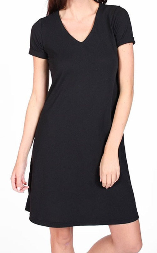Rolled Cuff Trapeze Dress in Black