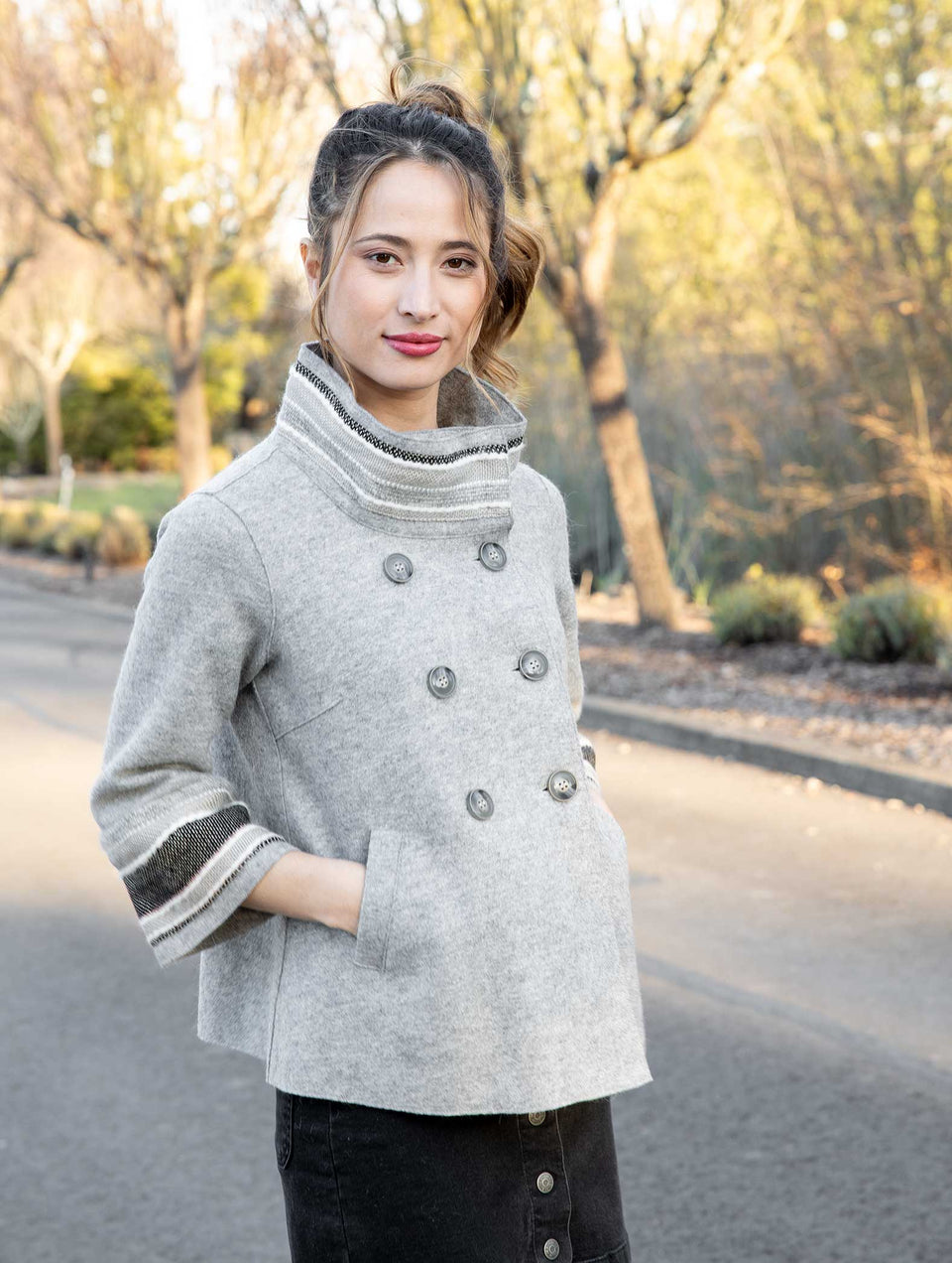 Alpaca Drew Jacket in Soft Gray