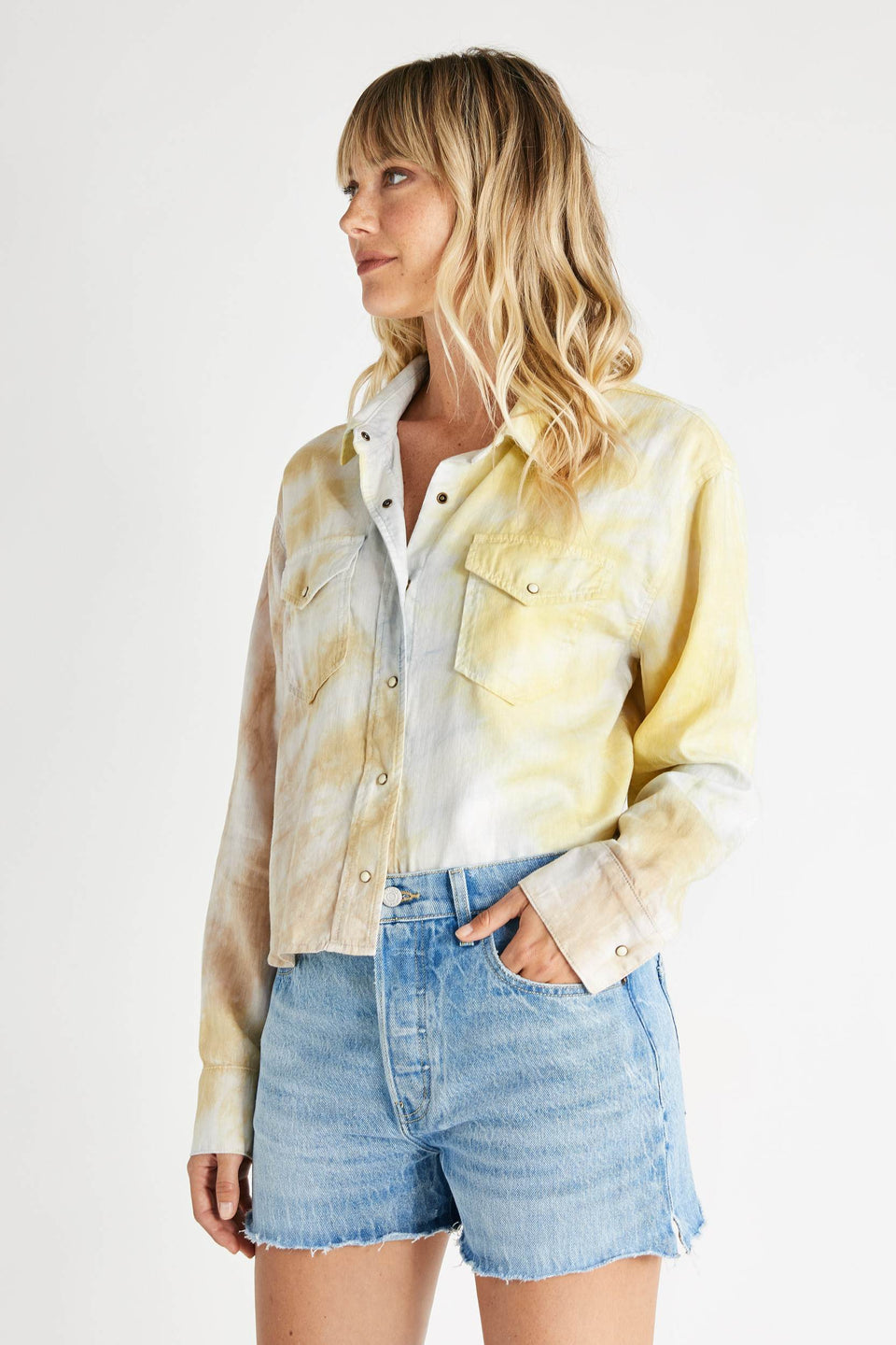 Diana Linen Long Sleeve Shirt in Botanical Tie Dye