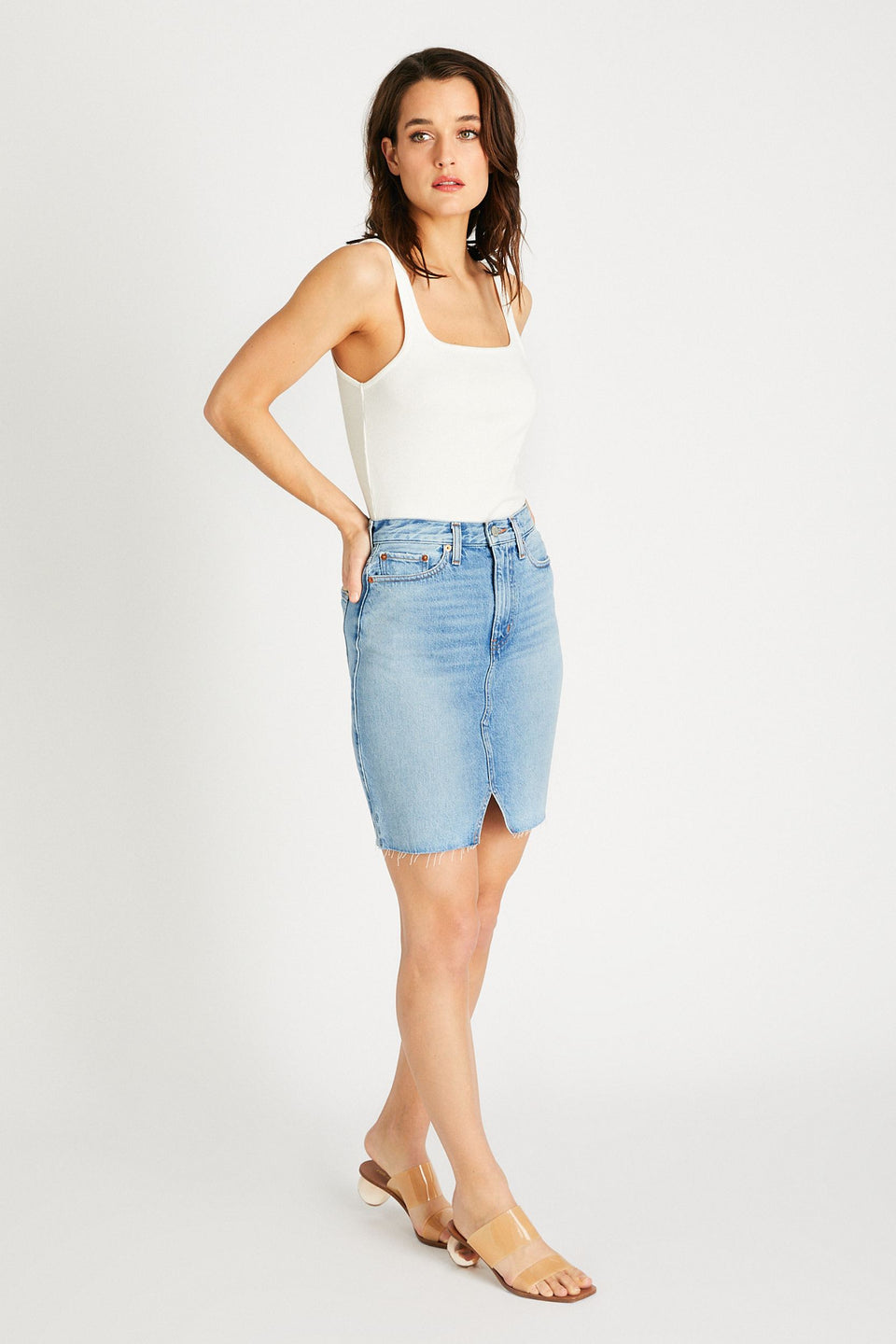 Juliette Skirt in Ice Blue Indigo
