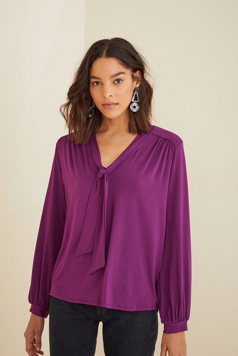 Elias Long Sleeve Top in Orchid Purple