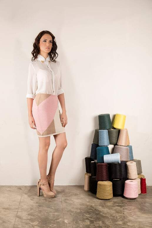 Louise Skirt  in Color Pink, Tan & White