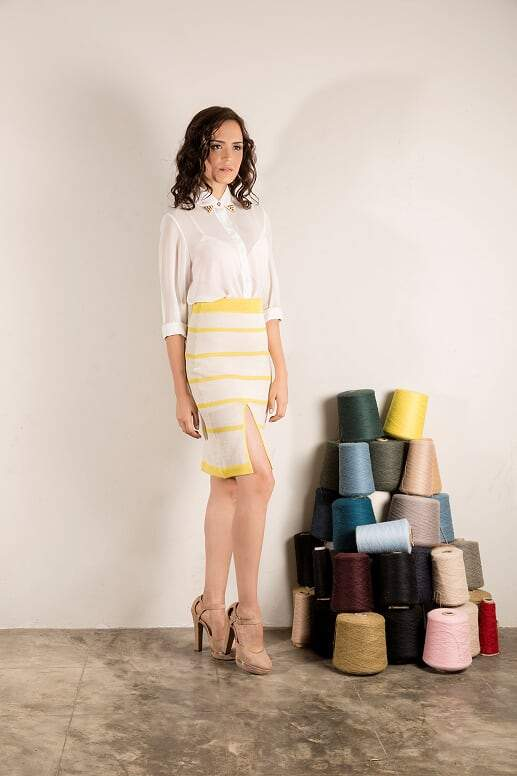 Hannah Skirt in Yellow and White