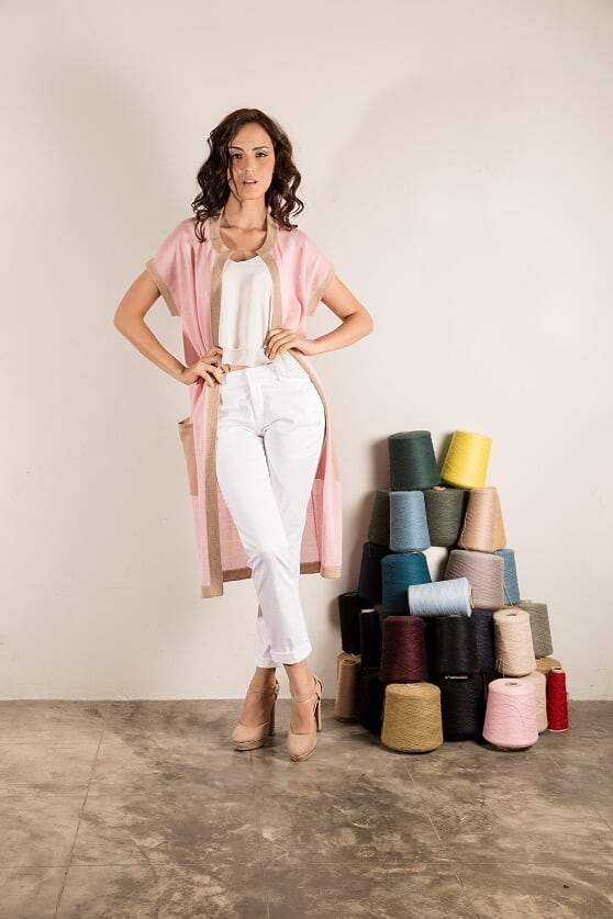 Olivia Cardigan in Blush and Tan