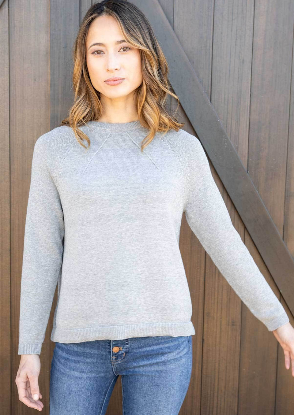 Lightweight Relaxed Sweater in Light Gray