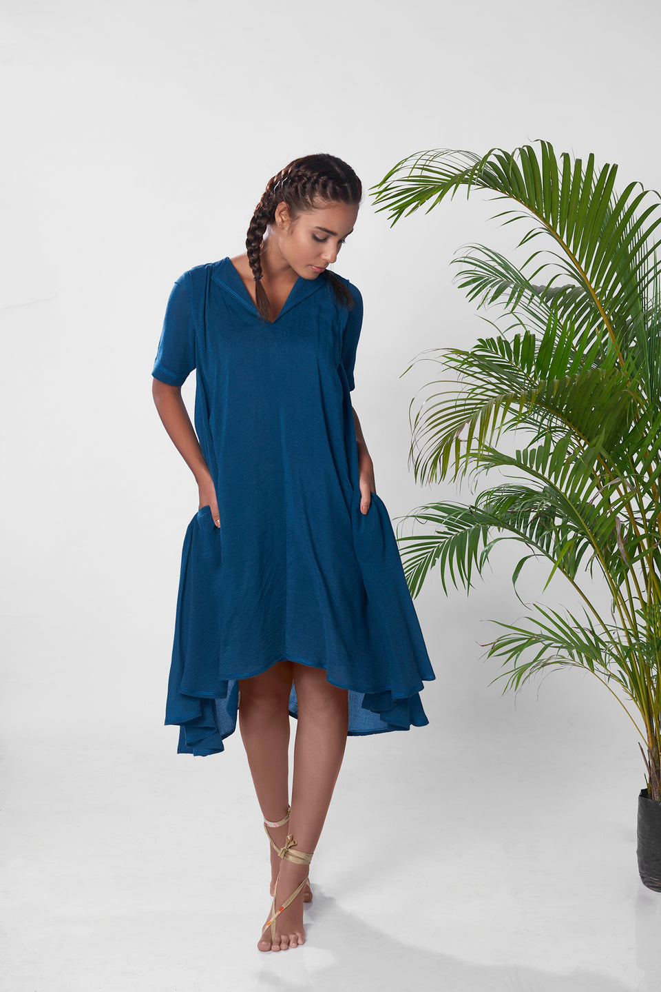 The Himachal Asymmetric Dress in Teal