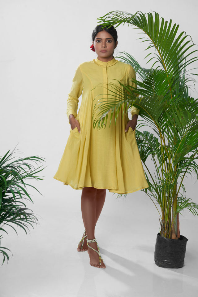 The Idukki Dress in Mustard