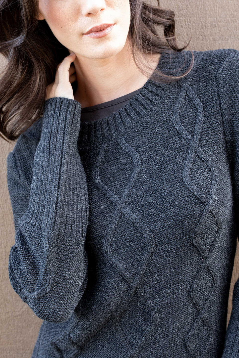 Alpaca Cable Pullover in Charcoal