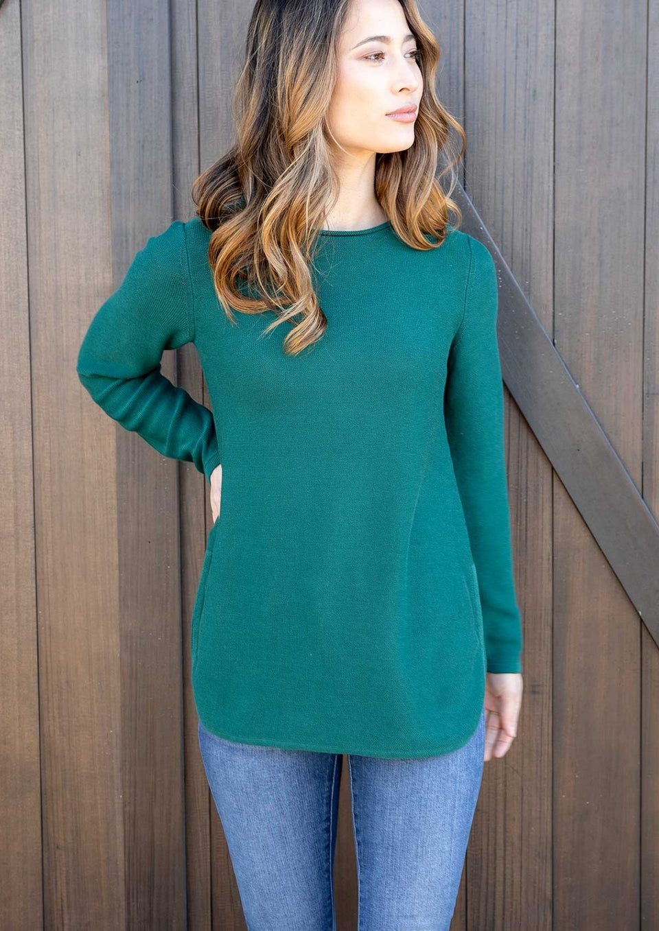 Maria Side Slit Sweater in Emerald