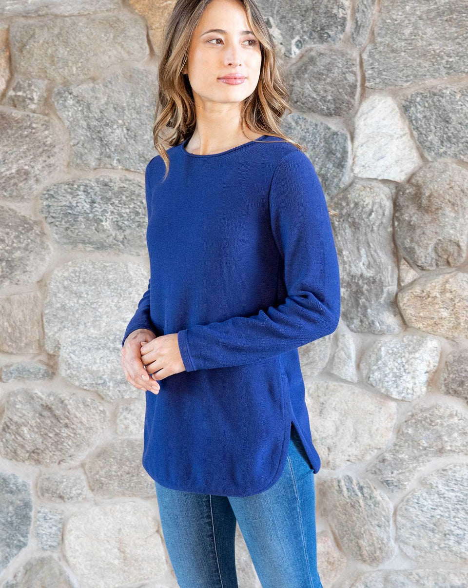 Maria Side Slit Sweater in Sapphire