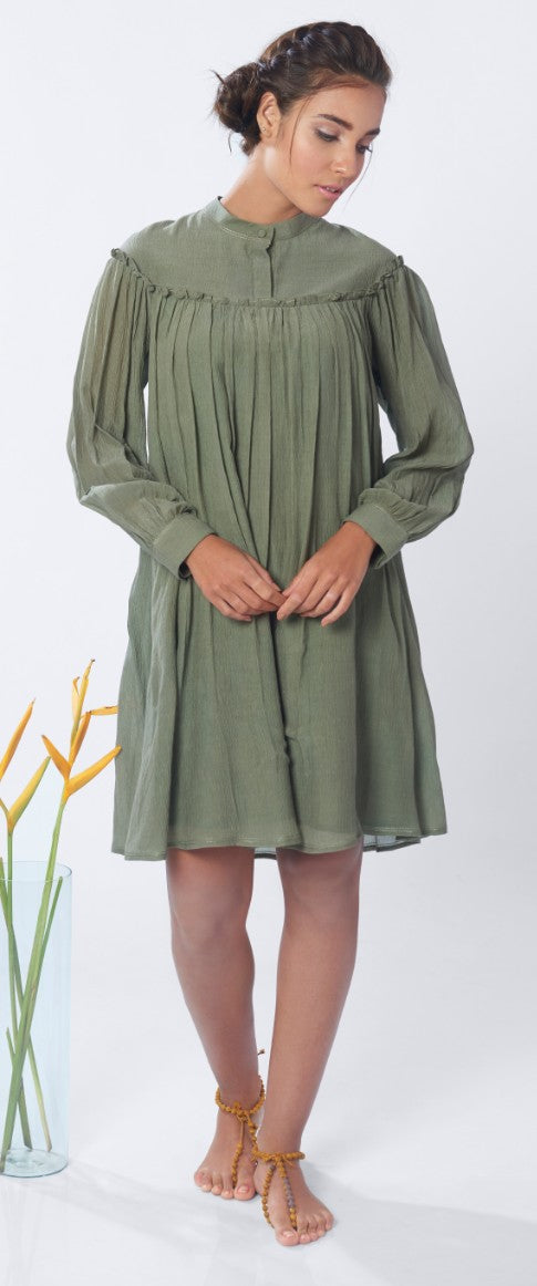 The Nainital Dress in Moss Green
