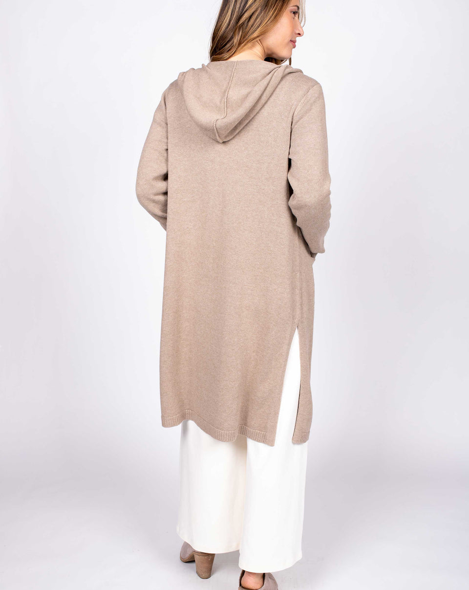 Relaxed Hooded Cardigan in Beige