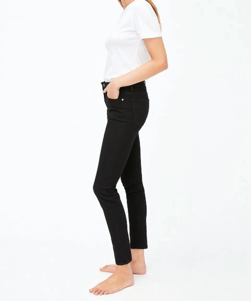 Tillaa Skinny Fit Mid Waist in Rinse Black