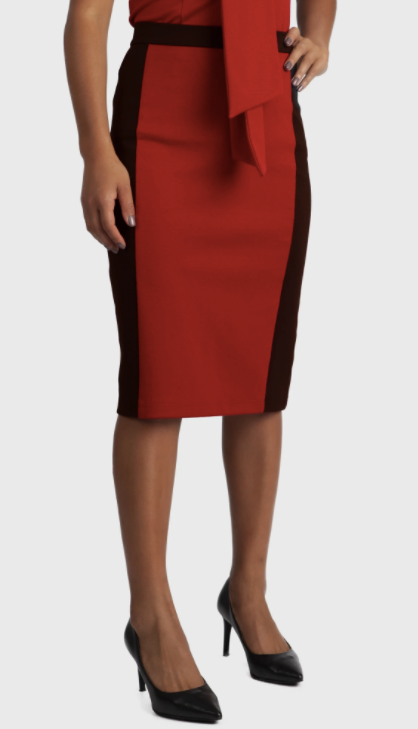 Erin Skirt in Crimson Colorblock