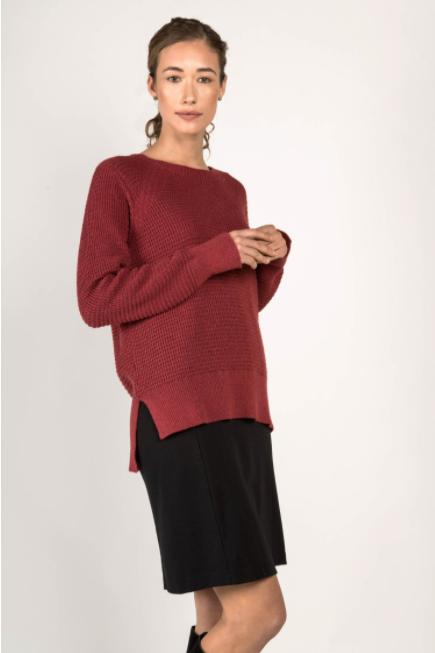 Waffle Knit Sweater in Cherry