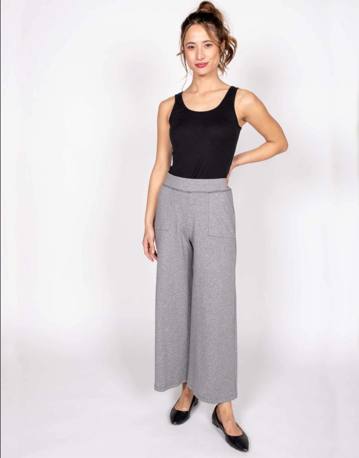 Organic Cotton Cropped Wide Leg Pant in Gray