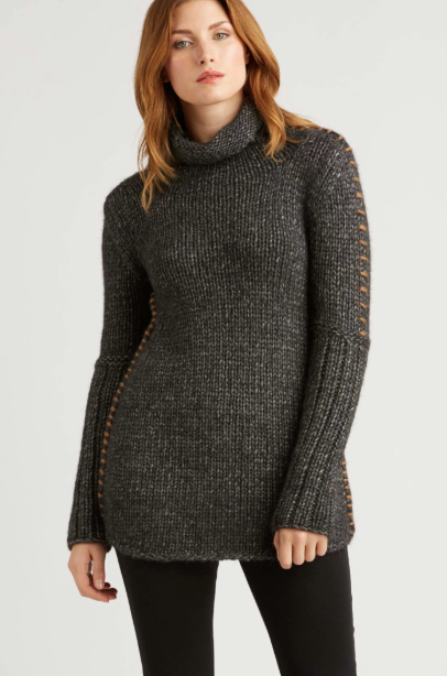 Alpaca Funnel Neck Sweater in Basalt Grey