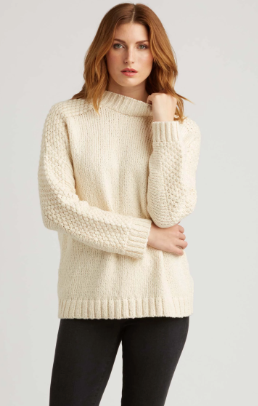 Undyed Bobble Shoulder Pullover in Ivory