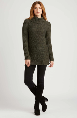 Zig Zag Pullover in Forest Black