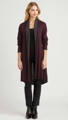 Luxury Reversible Cardigan in Burgundy and Charcoal