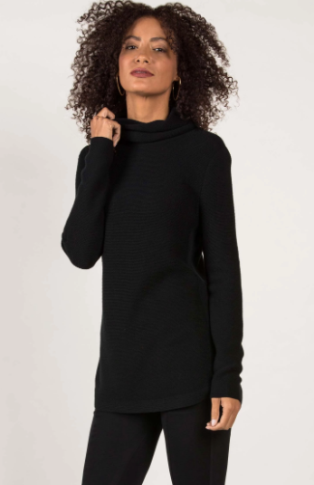 Funnel Neck Pullover Sweater in Black