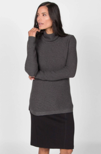 Funnel Neck Pullover Sweater in Charcoal