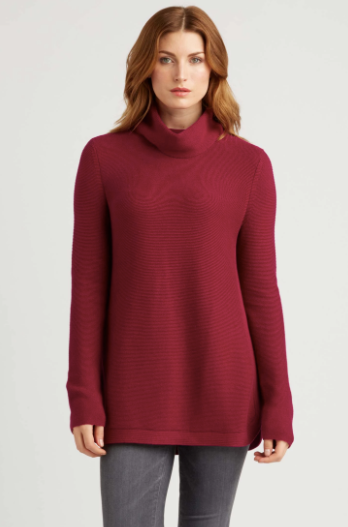 Funnel Neck Pullover Sweater in Winterberry