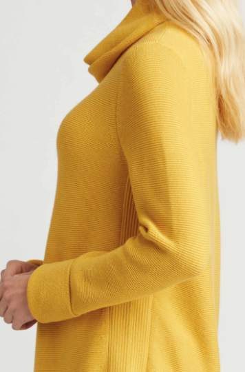 Funnel Neck Pullover Sweater in Saffron Yellow