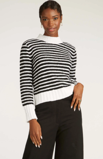 Striped Boucle Sweater in Black White Stripe
