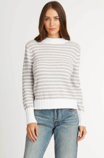 Striped Boucle Sweater in Pearl White Stripe