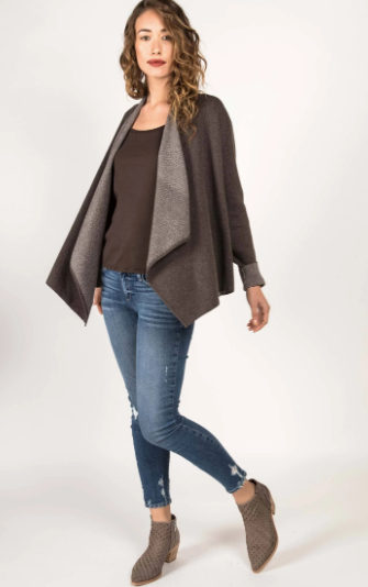 Drape Front Cardigan in Stone and Oatmeal