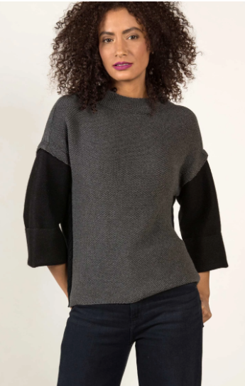 Alpaca Sleeve Sweater in Charcoal