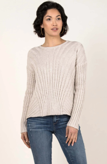 Boxy Rib Sweater Pullover in Oatmeal