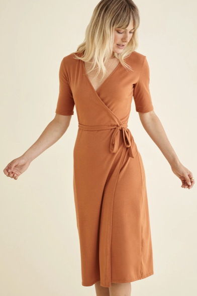 Alessia Wrap Dress in Almond
