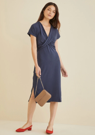 Francesca Midi Dress in Midnight Navy