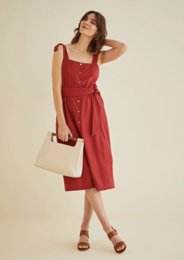 Bretta Midi Dress in Red