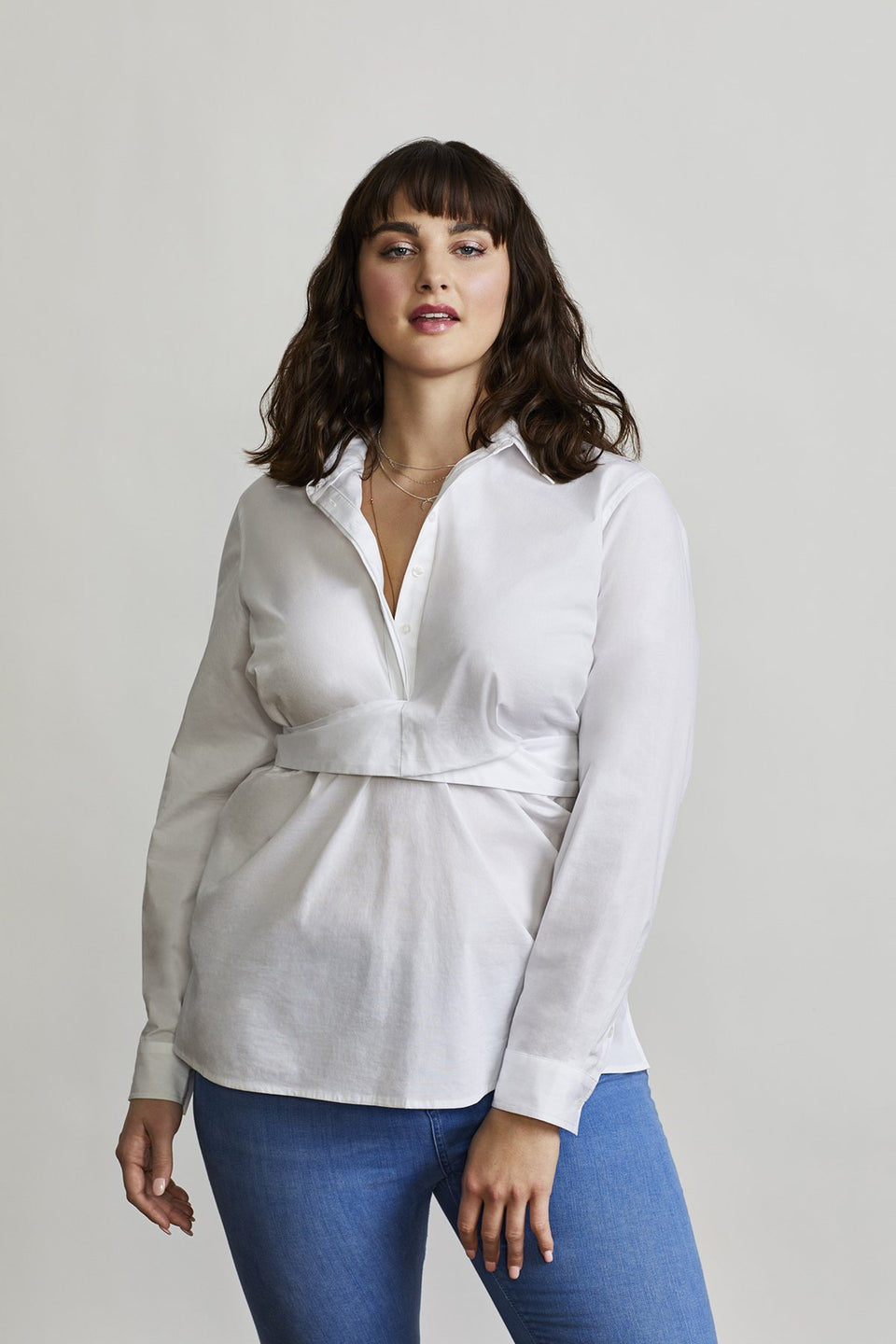 Tie-Waist Shelter Shirt in White