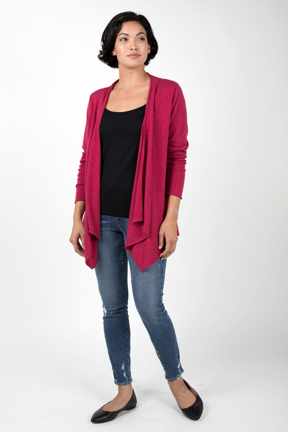 Drape Front Cardigan in Heather Rose