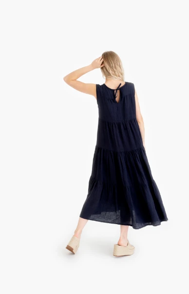 Tiered Maxi Dress in Indigo