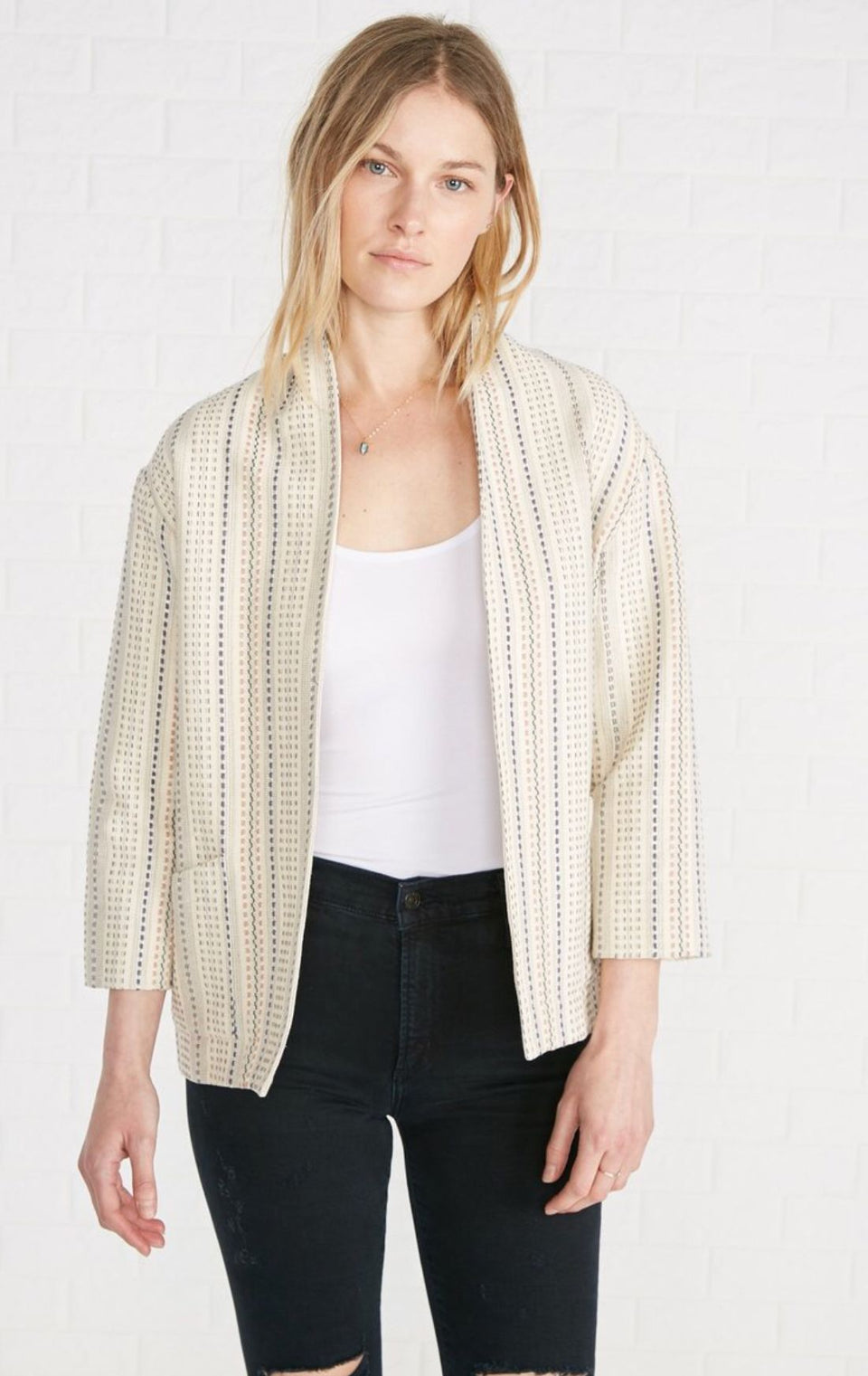 Viva Cotton Blazer Jacket in Basket Stripe