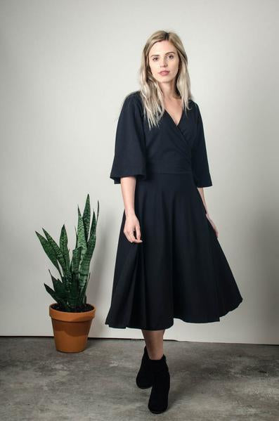 Nataly Wrap Dress in Black
