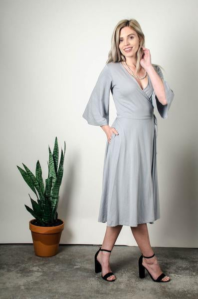 Nataly Wrap Dress in Gray