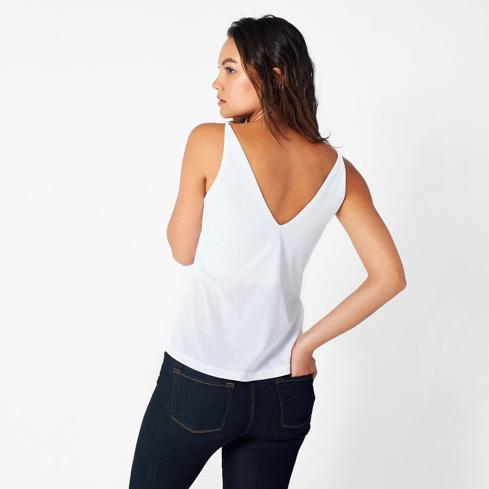 V-Neck Cami in White