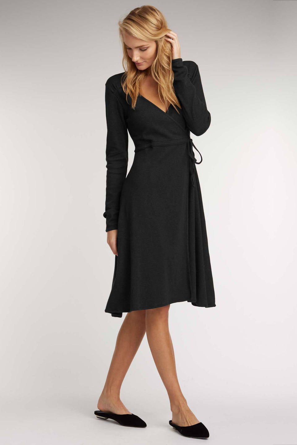 Ruched Tie Dress in Black